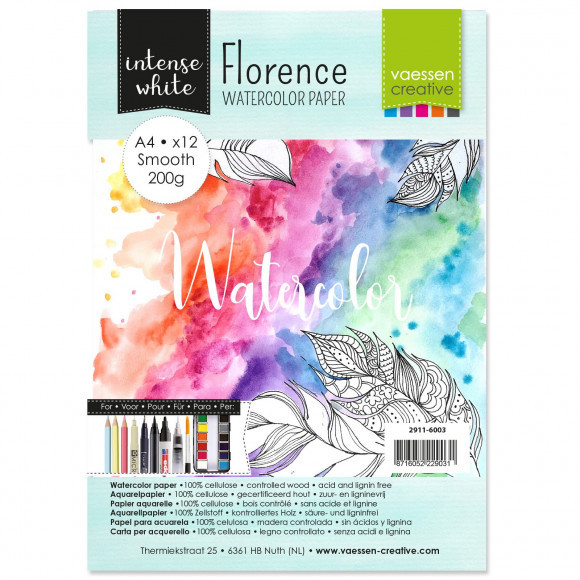 Florence  Aquarelpapier smooth White A4