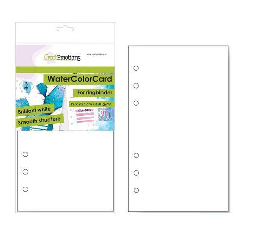 CraftEmotions WaterColorCard - bril. Ringband wit